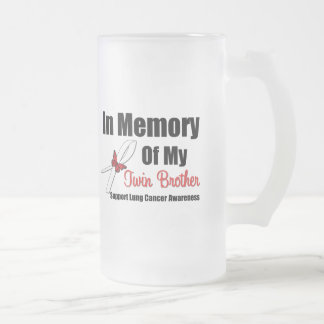 Lung Cancer In Memory Twin Brother 16 Oz Frosted Glass Beer Mug