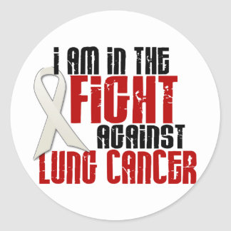 Lung Cancer IN THE FIGHT 1 Round Stickers
