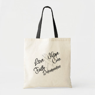 Lung Cancer Love Hope Determination Budget Tote Bag