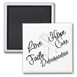 Lung Cancer Love Hope Determination 2 Inch Square Magnet