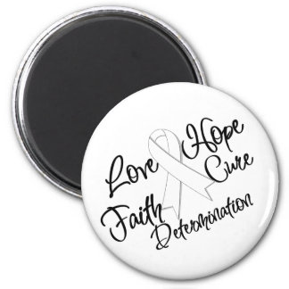 Lung Cancer Love Hope Determination 2 Inch Round Magnet