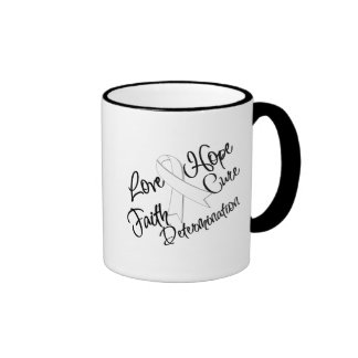 Lung Cancer Love Hope Determination Ringer Coffee Mug