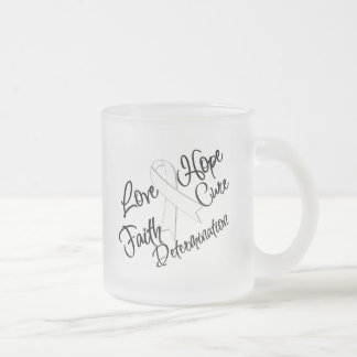Lung Cancer Love Hope Determination 10 Oz Frosted Glass Coffee Mug