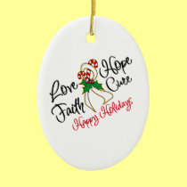 Lung Cancer Love Hope Holidays Double-Sided Oval Ceramic Christmas Ornament