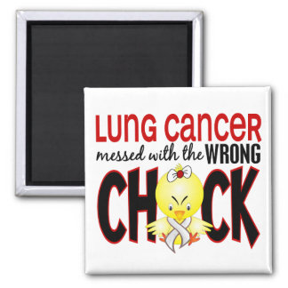 Lung Cancer Messed With The Wrong Chick 2 Inch Square Magnet