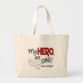 Lung Cancer MY HERO MY DAD 42 Large Tote Bag