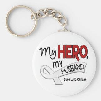 Lung Cancer MY HERO MY HUSBAND 42 Basic Round Button Keychain