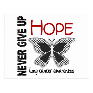 Lung Cancer Never Give Up Hope Butterfly 4.1 Postcard
