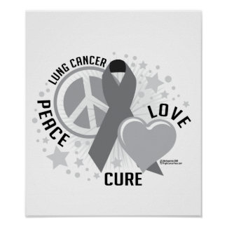 Lung Cancer Peace Love Cure Posters
