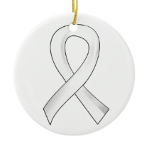 Lung Cancer Pearl Ribbon 3 Ceramic Ornament