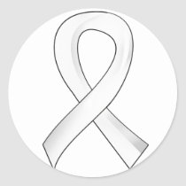 Lung Cancer Pearl Ribbon 3 Classic Round Sticker