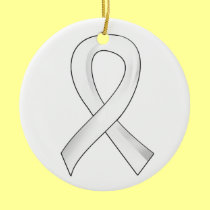 Lung Cancer Pearl Ribbon 3 Double-Sided Ceramic Round Christmas Ornament
