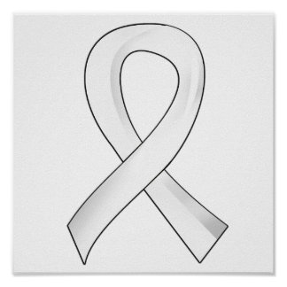 Lung Cancer Pearl Ribbon 3 Poster