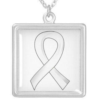 Lung Cancer Pearl Ribbon 3 Silver Plated Necklace