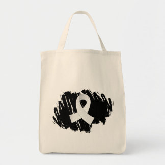 Lung Cancer Pearl Ribbon With Scribble Tote Bags
