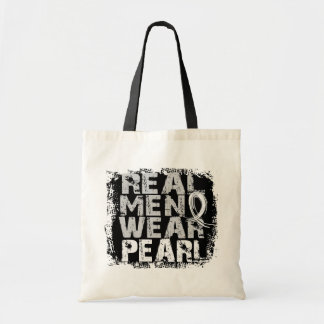 Lung Cancer Real Men Wear Pearl Canvas Bag