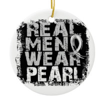 Lung Cancer Real Men Wear Pearl Ceramic Ornament