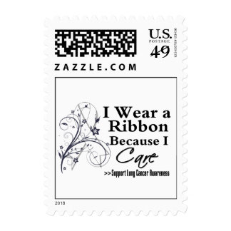 Lung Cancer Ribbon Because I Care Postage Stamps