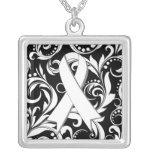 Lung Cancer Ribbon Deco Floral Noir Square Pendant Necklace