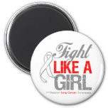 Lung Cancer Ribbon - Fight Like a Girl Fridge Magnet