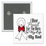 Lung Cancer Ribbon Hero My Dad 2 Inch Square Button