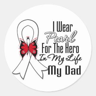 Lung Cancer Ribbon Hero My Dad Round Sticker