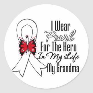 Lung Cancer Ribbon Hero My Grandma Stickers