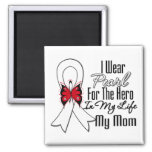 Lung Cancer Ribbon Hero My Mom 2 Inch Square Magnet