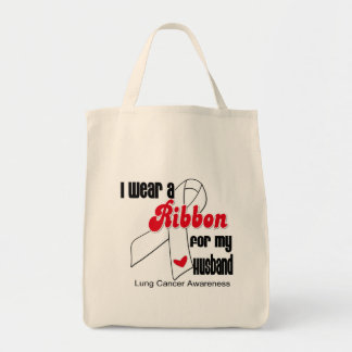Lung Cancer Ribbon (Husband) Canvas Bags