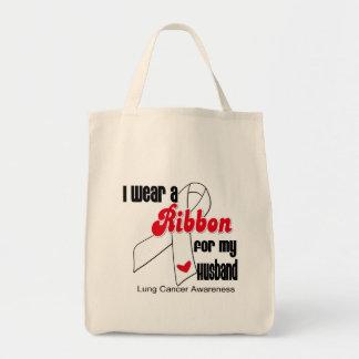 Lung Cancer Ribbon (Husband) Tote Bag