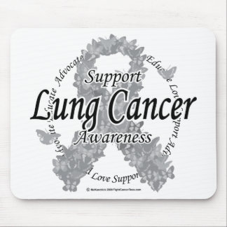 Lung Cancer Ribbon of Butterflies Mouse Pad