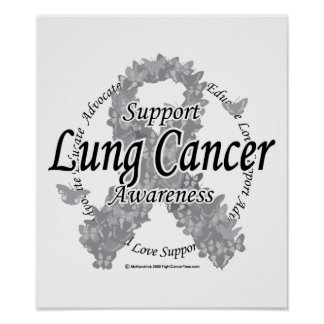 Lung Cancer Ribbon of Butterflies Posters