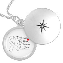 Lung Cancer Ribbon Someone I Love Locket Necklace