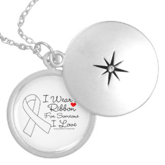 Lung Cancer Ribbon Someone I Love Round Locket Necklace