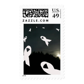Lung Cancer Ribbons over a Night Sky Postage