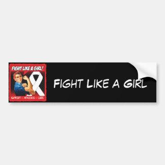 Lung Cancer Rosie Riveter - Fight Like a Girl Car Bumper Sticker