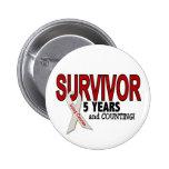 Lung Cancer Survivor 5 Years Pinback Button