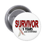 Lung Cancer Survivor 5 Years Pinback Buttons