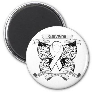 Lung Cancer Survivor Butterfly Strength 2 Inch Round Magnet