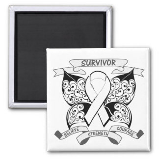 Lung Cancer Survivor Butterfly Strength 2 Inch Square Magnet