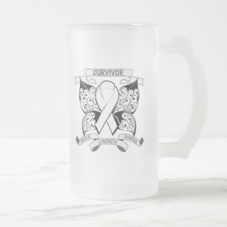 Lung Cancer Survivor Butterfly Strength 16 Oz Frosted Glass Beer Mug