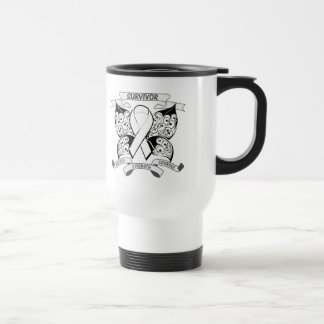 Lung Cancer Survivor Butterfly Strength 15 Oz Stainless Steel Travel Mug