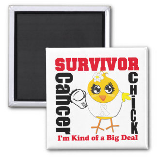 Lung Cancer Survivor Chick Ribbon 2 Inch Square Magnet