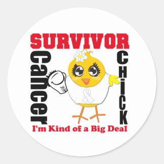 Lung Cancer Survivor Chick Ribbon Round Stickers