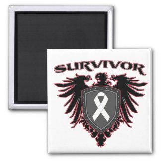 Lung Cancer Survivor Crest 2 Inch Square Magnet