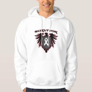 Lung Cancer Survivor Crest Hooded Sweatshirts