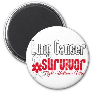 Lung Cancer Survivor Flower Ribbon Refrigerator Magnets