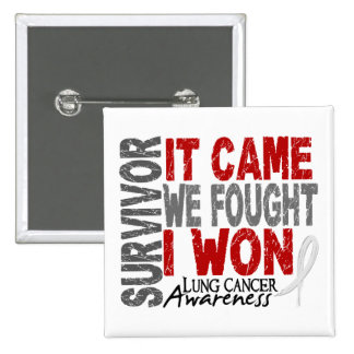 Lung Cancer Survivor It Came We Fought I Won 2 Inch Square Button