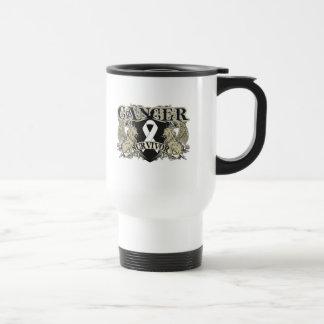 Lung Cancer Survivor Mens Heraldry 15 Oz Stainless Steel Travel Mug