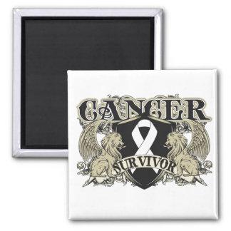 Lung Cancer Survivor Mens Heraldry 2 Inch Square Magnet